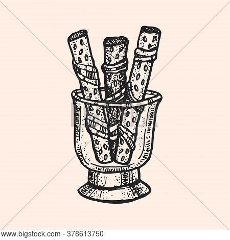 Fried Bread, Chips In Glass Cup. Meal, Fast Food, Snack. Oktoberfest Monochrome Illustration. German