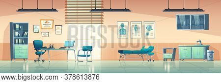 Medical Office Interior, Empty Clinic Room With Doctor Stuff, Hospital With Couch, Chair And Washbas