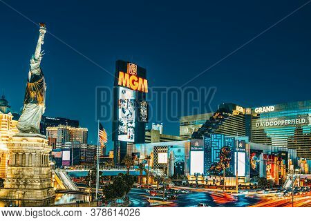 Main Street Of Las Vegas-is The Strip In Evening Time. Casino, Hotel And Resort-mgm Grand.