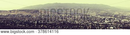 Panorama View Of A City In A Day Time. Panorama Cityscape.