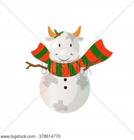 Snowman Looking Like A Bull Wearind Bright Scarf. 2021 Chinese New Year Symbol. Vector Illustration.