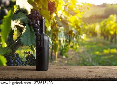Corkscrew And Wooden Barrel, Vineyard On Background