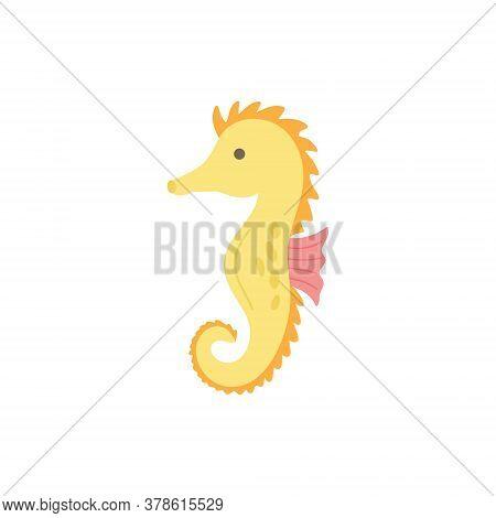 Seahorse Cute Vector Illustration. Hand Drawn Ocean, Marine, Sea Yellow And Pink Seahorse Animal. Is