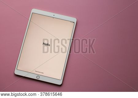 Moscow, Russia - April 19, 2020: The electronic tablet  iPad Pro from Apple with the word Hello on t