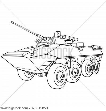Infantry Vehicle Sketch, Coloring Book, Isolated Object On White Background, Vector Illustration, Ep