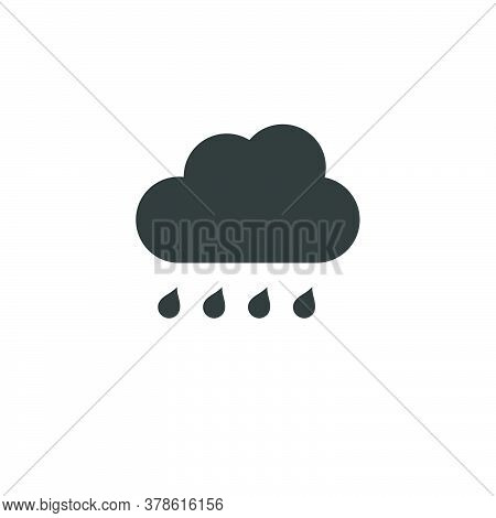 Cloud And Raindrop. Rainy Day. Isolated Icon. Weather Glyph Vector Illustration