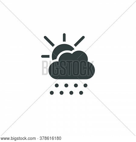 Hail, Sun And Cloud. Isolated Icon. Weather Glyph Vector Illustration