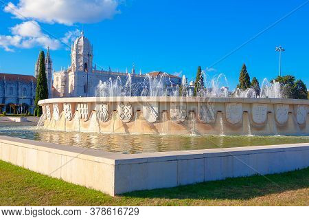 Empire Square Monuments And Tourist Attractions Of Belem In Lisbon . Jeronimos Monastery In Portugal