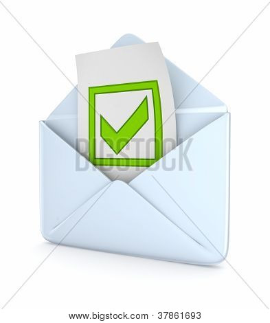 Envelope with a green tick mark.