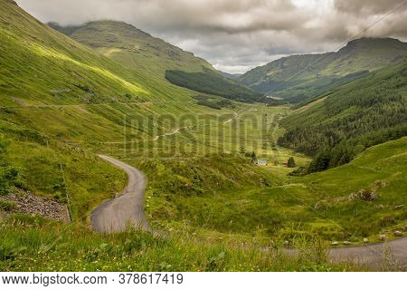 A View Down A Scottish Highland Glen, Glen Croe, From The 'rest And Be Thankful View Point', In Argy