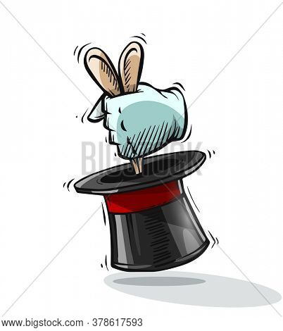 Magical focus trick. Hand of magician gets ears of hare rabbit from top hat cylinder. Hand drawn draft sketch, isolated on white background. 3D illustration.