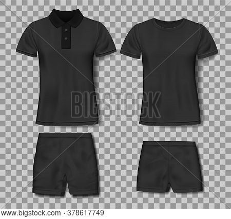 Black Realistic Slim Male Polo Shirt And Sport Shorts Design Template. Set Of T-shirts For Sport, Me