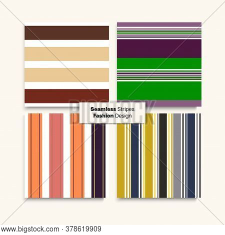 Sailor Stripes Seamless Design Set. Spring Summer Elegant Fashion Fabric. Modern Fashion Background