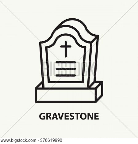 Gravestone Flat Line Icon. Simple Thin Outline Funeral Symbol. Vector Illustration.