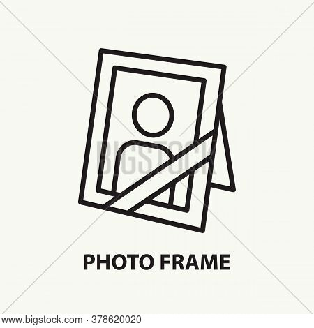 Memory Portrait Flat Line Icon. Mourning Photo Frame With Ribbon. Simple Thin Outline Funeral Symbol