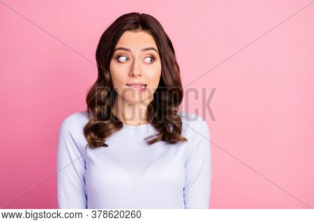 Photo Of Attractive Lady Wavy Hairdo Biting Lips Look Shy Side Empty Space Made Wrong Bad Thing Unco