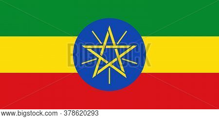 Ethiopia Flag With Official Colors And The Aspect Ratio Of 1:2. Flat Vector Illustration.