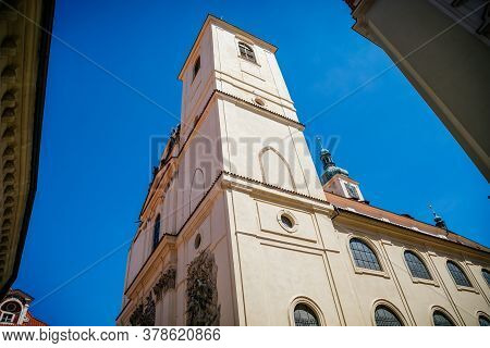 Bell Tower And Spiers Of The Baroque Church Of St. James The Greater, Old Town, Prague, Czech Republ