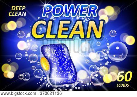 Clean Poster Design For Advertising. Dishwashing Tablet Soap Ads. Realistic Liquid Detergent Gel For
