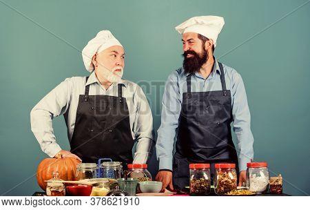 Tasty Food. Chef Men Cooking. Cheerful Men Prepare Food. Healthy Food Cooking. Mature Senior Bearded