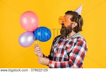 It Is Perfect. Happy Holiday Celebration. Party Goer Going Crazy. Having Fun With Balloons. Prepare