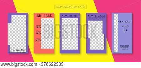 Social Stories Cool Vector Layout. Modern Sale, New Arrivals Story Layout. Online Shop Elegant Graph