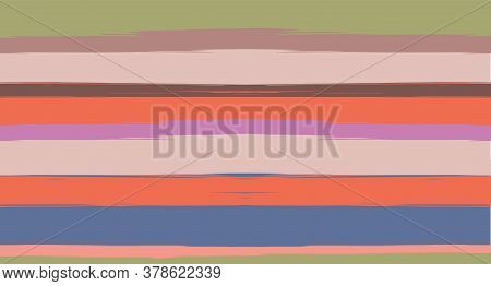 Orange, Brown Vector Watercolor Sailor Stripes Funky Seamless Summer Pattern. Horizontal Brushstroke