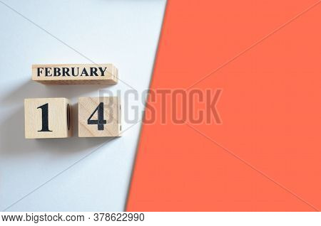 February 14, Empty White - Red Background With Number Cube.