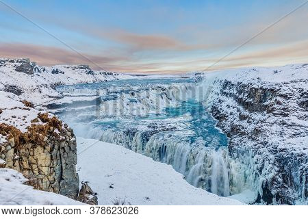 Panoramic View Over Gullfoss Waterfall In South Iceland In Winter During Daytime