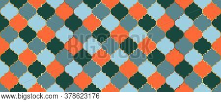 Persian Mosque Window Tile. Moroccan Seamless Texture Eid Mubarak Islamic Decoration. Ramadan Kareem