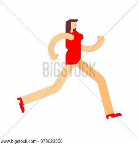 Woman In Dress Is Running. Girl Run. Vector Illustration