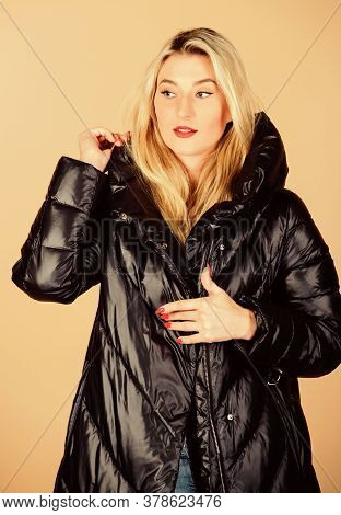 Gorgeous. Happy Winter Holidays. Xmas Coming. Woman In Padded Warm Coat. Flu And Cold. Seasonal Fash