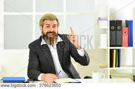 Economics Crisis. Stock Market And Economic Cycles. Man Bearded Manager Formal Suit Sit Office. Inve
