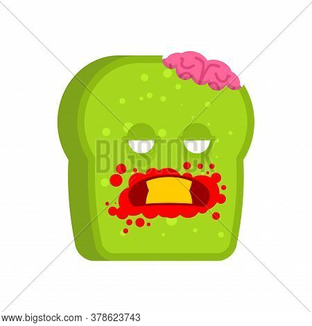 Zombie Bread. Piece Of Green Dead Bread