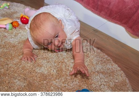 Lying Baby Pulls To The Toy, Baby Lying On The Carpet Reaches For A Toy