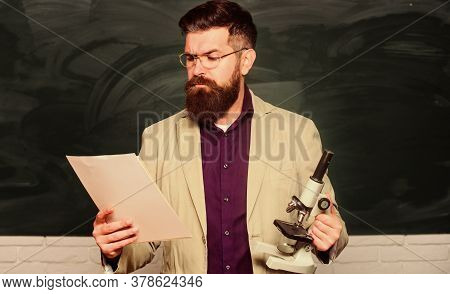 Lecturer Read Project. Mature Man At School. Back To School. Remember How To Be A Student. Microscop