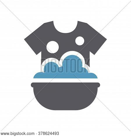 Clothes Hand Washing In A Sink Icon. T Shirt In Soap Foam And Bubbles In A Basin Simple Vector Laund