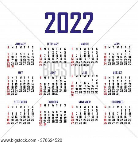 Calendar 2022. The Week Begins On Sunday. Simple Calendar Template. Portrait Of Vertical Orientation