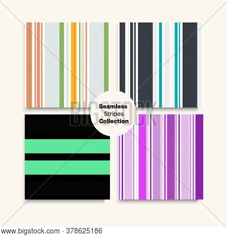Sailor Stripes Seamless Design Set. Childrens Male Female Seamless Stripes Texture. Funky Lines Endl