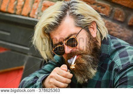 Brutal Guy Sunglasses Smoking Tobacco. Smoking Outdoors. Medical Cannabis. Smoking Habit. Fashionabl
