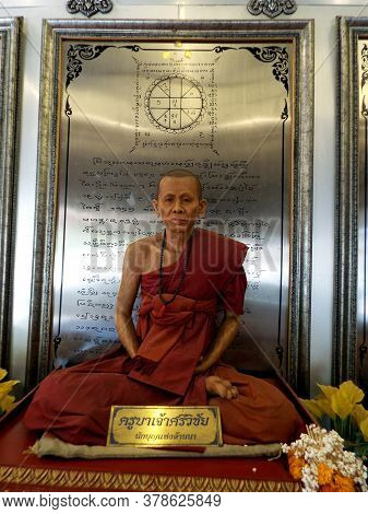 Chiang Mai, Thailand, December 6, 2018: Synthetic Resin Reproduction Of A Revered Monk From Chiang M