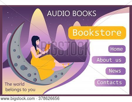 Beautiful Girl. Template F.or The Site. Landing Page. Audiobook Concept. Books Online.
