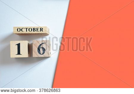 October 16, Empty White - Red Background With Number Cube.