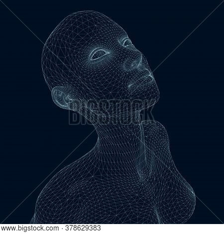 Wireframe Of A Girl With Her Head Up. Wireframe Of The Girl Head From Blue Lines On A Dark Backgroun