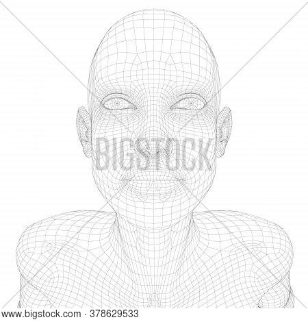 Wireframe Of A Girl With Her Head Up. View From Above. 3d. Vecto
