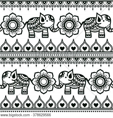 Mehndi Indian Vector Pattern With Elephants, Flowers And Geometric Shapes, Henna Tattoo Style Design