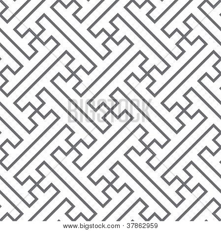 Ethnic Vector Seamless Pattern - Gray Lines