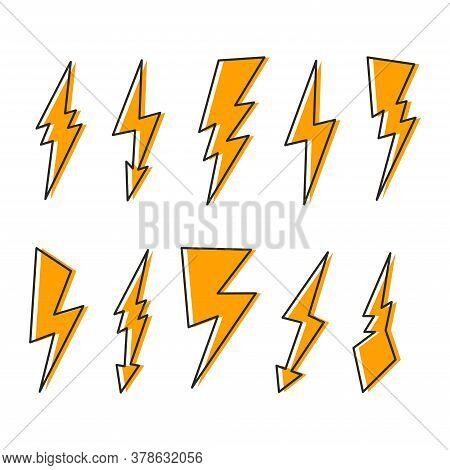Lightning Collection In Cartoon Style, Vector Lightning.