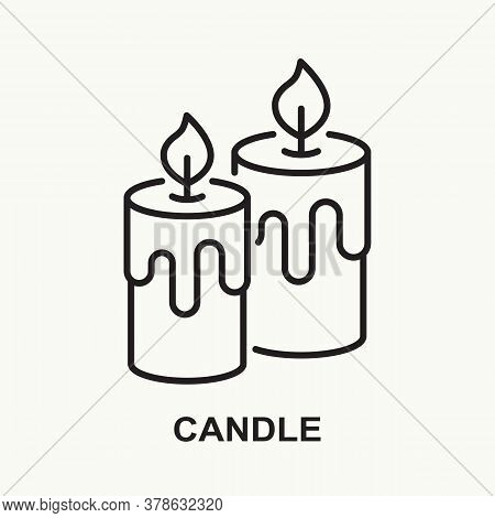 Candle Line Icon. Two Burning Candles With Wax. Vector Illustration.