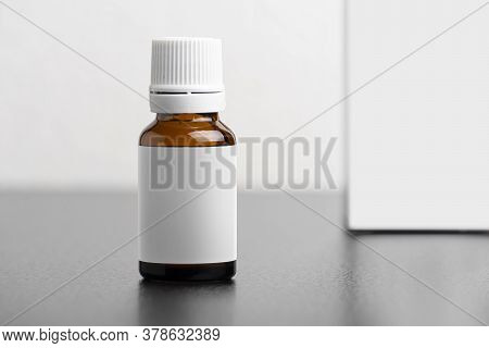 Child Dietary Supplement Glass Bottle With Package Isolated On Gary Background, Editable Mock-up Ser